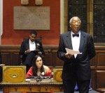 Prof Thomas L B;lair addressing the Oxford University Student Union 2001